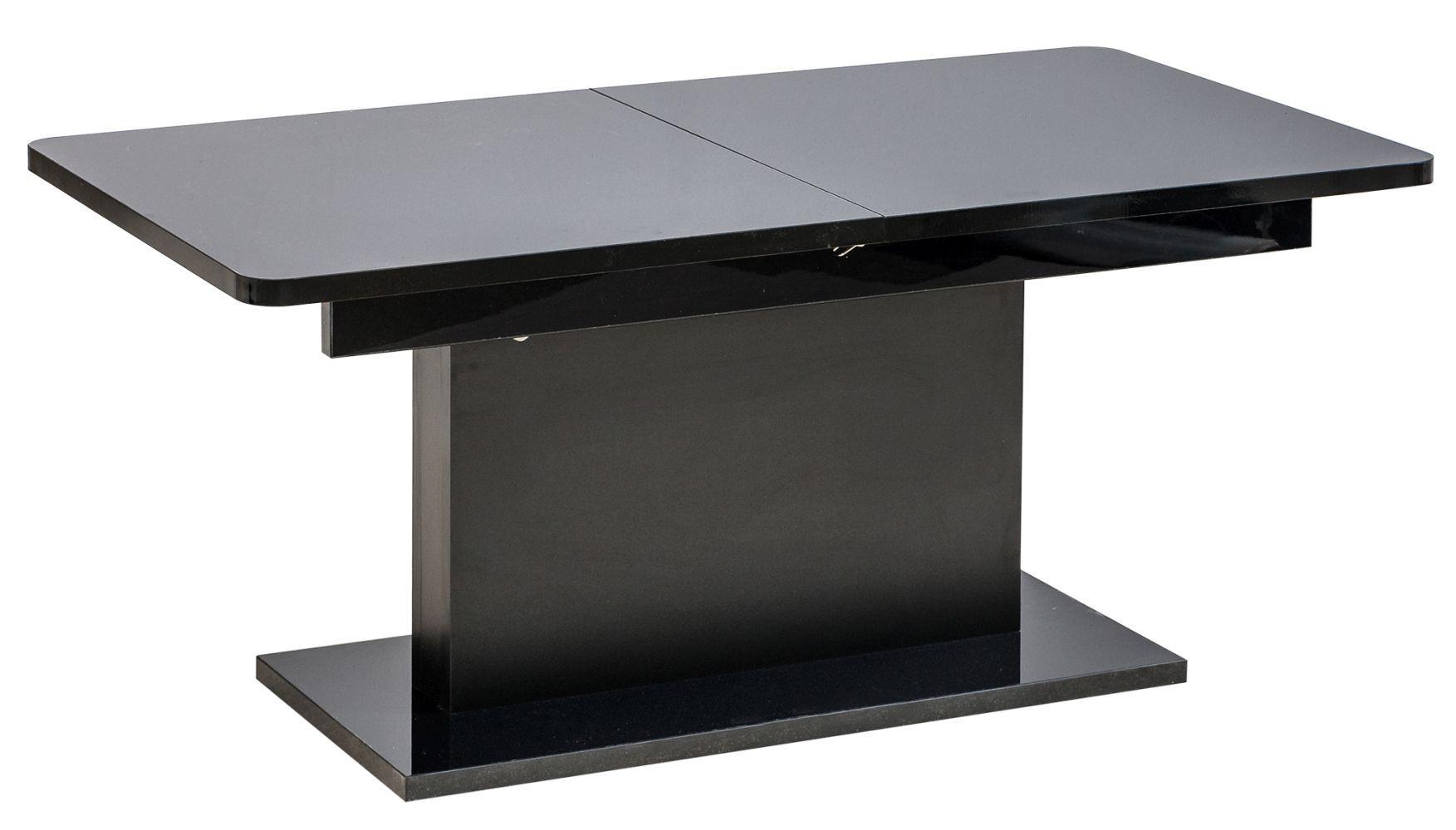 Couchtisch höhenverstellbar und ausziehbar Escolar 2, Farbe: Schwarz - 126-168 x 70 x 58-75 cm (B x T x H)