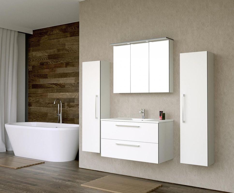 Badmöbel - Set F Bijapur, 4-teilig inkl. Waschtisch / Waschbecken, Farbe: Weiß glänzend