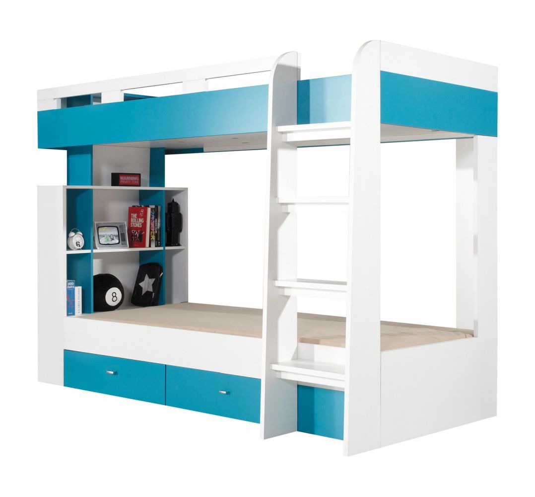 """Funktionsbett / Kinderbett """"Geel"""" 19  Weiß / Türkis - Liegefläche: 90 x 200  (B x L)"""