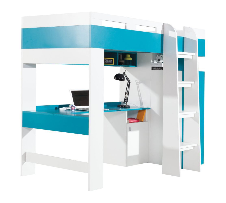 """Funktionsbett / Kinderbett / Hochbett mit Bettkasten und Schreibtisch """"Geel"""" 20  Weiß / Türkis - Liegefläche 90 x 200 cm (B x L)"""