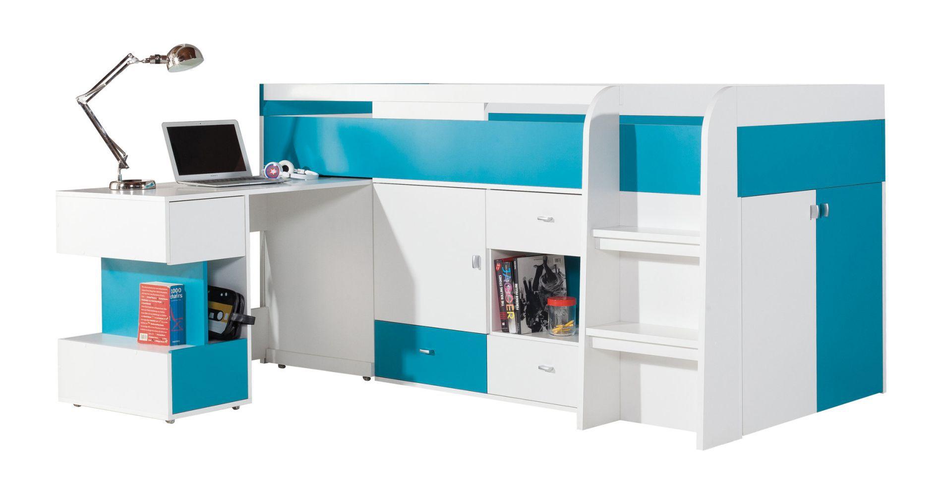"""Funktionsbett / Kinderbett / Hochbett mit Bettkasten und Schreibtisch """"Geel"""" 21, Weiß / Türkis - Liegefläche: 90 x 200 (B x L)"""
