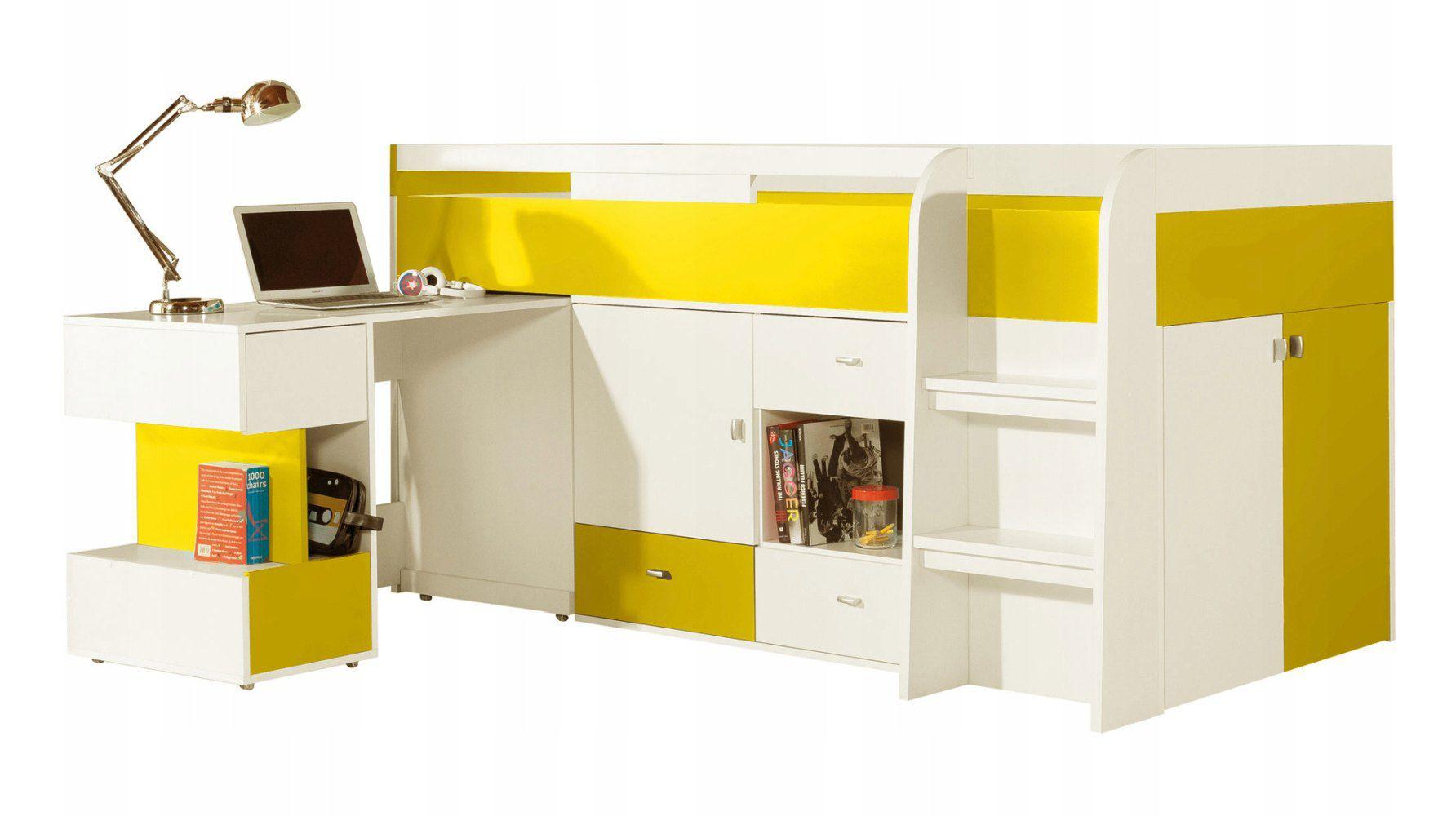 """Funktionsbett / Kinderbett / Hochbett mit Bettkasten und Schreibtisch """"Geel"""" 42, Weiß / Gelb - Liegefläche: 90 x 200 (B x L)"""