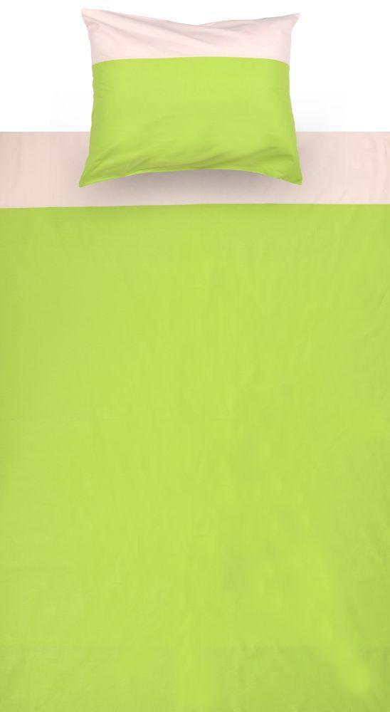 Kinder - Bettwäsche 2-teilig - Farbe:Grün/Beige