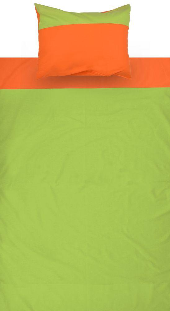 Kinder - Bettwäsche 2-teilig - Farbe:Grün/Orange