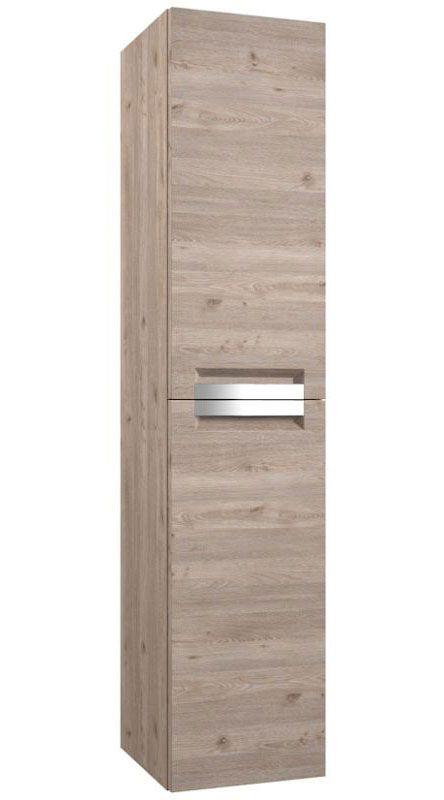 Badezimmer - Hochschrank Purina 23, Farbe: Eiche Grau – 138 x 35 x 25 cm (H x B x T)