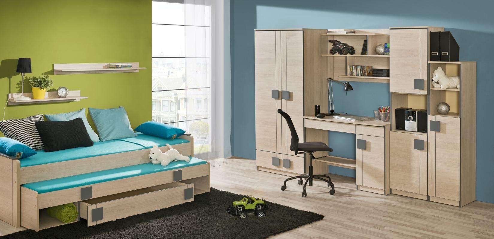 Jugendzimmer Komplett - Set A Elias, 8-teilig, Farbe: Hellbraun / Grau