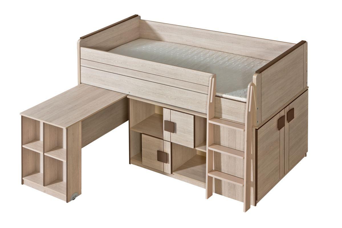 Funktionsbett / Kinderbett / Hochbett - Kombination mit Bettkasten, Kommode und Schreibtisch Elias 19, Farbe: Hellbraun / Braun - Liegefläche: 90 x 200 cm (B x L)