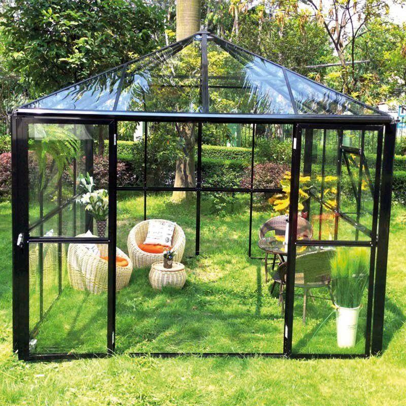 Gewächshaus Wasabi 02, Ausführung: Echtglas 4 mm, Abmessungen: 436 x 295 x 270 cm (L x B x H), Farbe: Schwarz