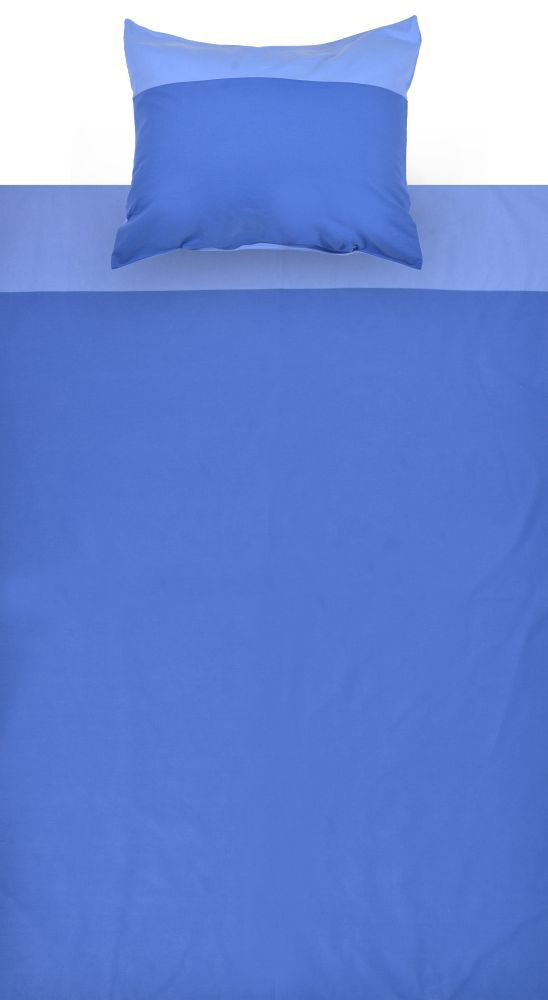 Kinder - Bettwäsche 2-teilig - Farbe:Hellblau/Dunkelblau