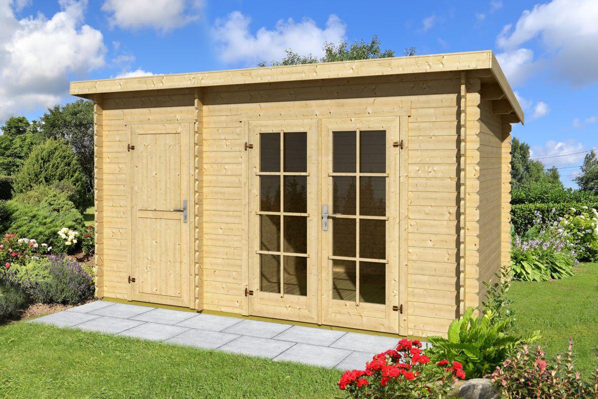Gartenhaus G228 inkl. Fußboden und Dachpappe - 34 mm Blockbohlenhaus, Grundfläche: 11,90 m², Pultdach
