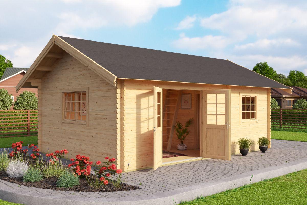 Gartenhaus G235, mit Schlafboden, inkl. Fußboden - 40 mm Blockbohlenhaus, Grundfläche: 22,43 m², Satteldach