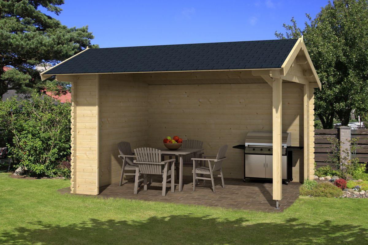 Pavillon P1 - 28 mm Blockbohlenpavillon, Grundfläche: 11,40 m², Satteldach