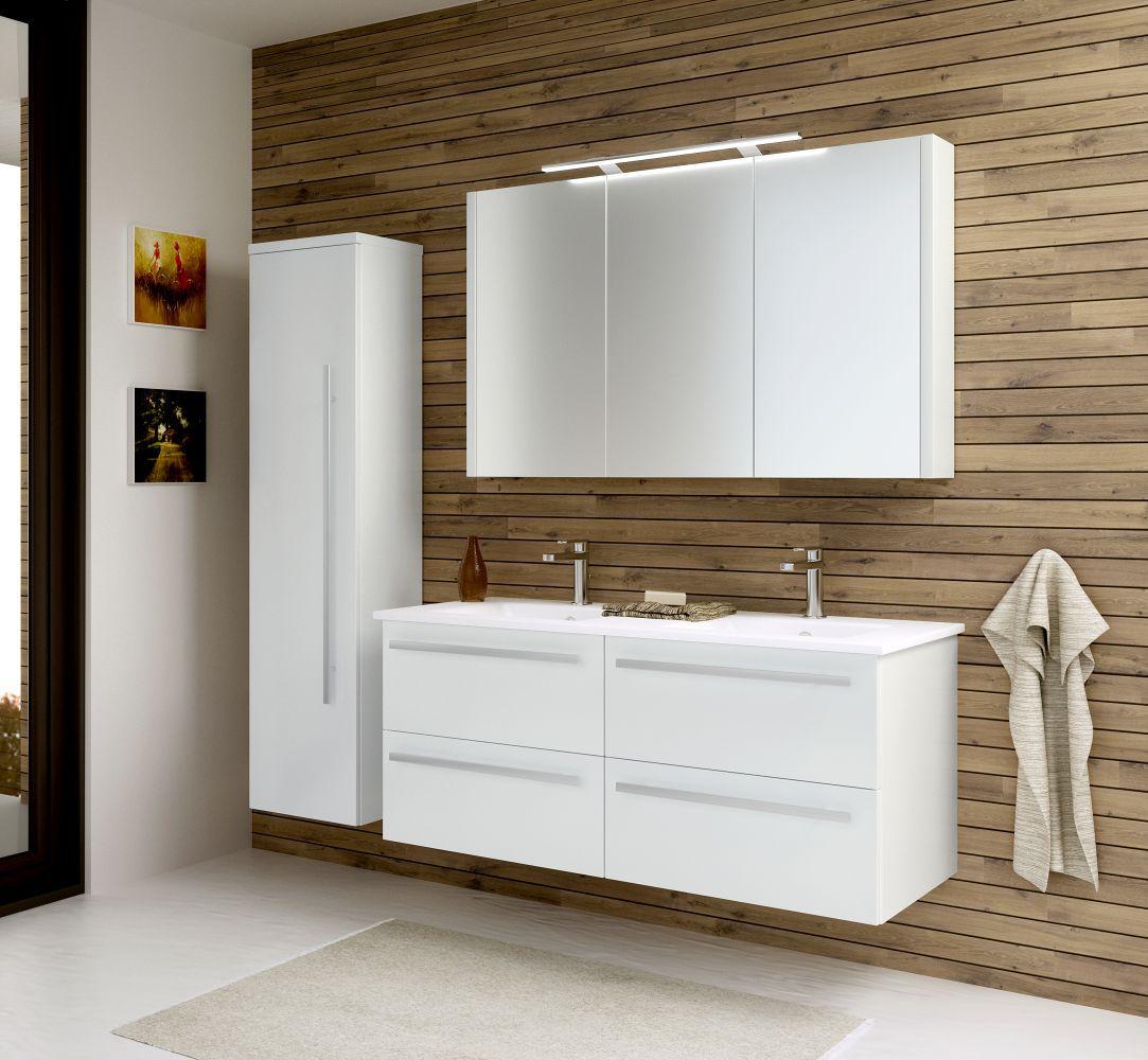 Badmöbel - Set I Bidar, 3-teilig inkl. Doppelwaschtisch, Farbe: Weiß glänzend