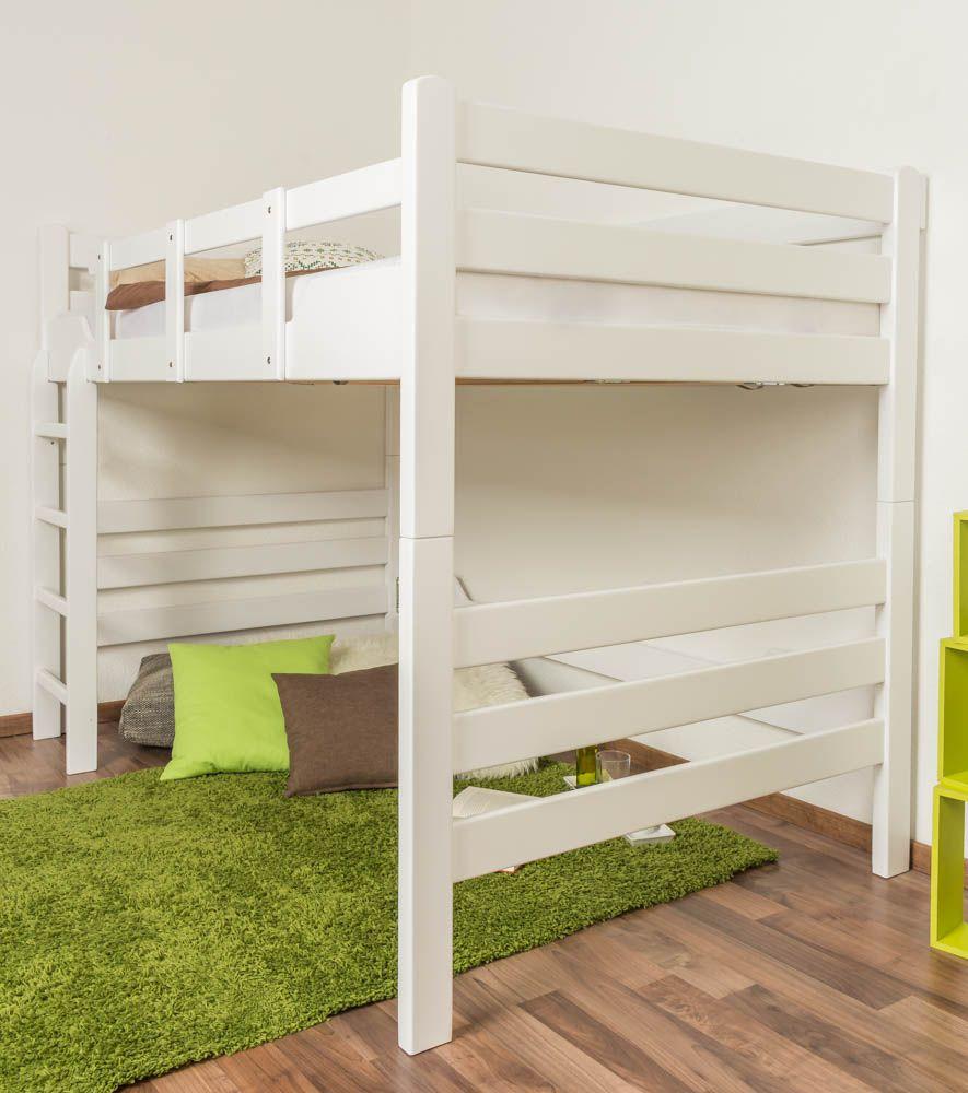 """Hochbett für Erwachsene """"Easy Premium Line"""" K15/n, Buche Vollholz massiv weiß lackiert, teilbar - Liegefläche: 120 x 200 cm"""