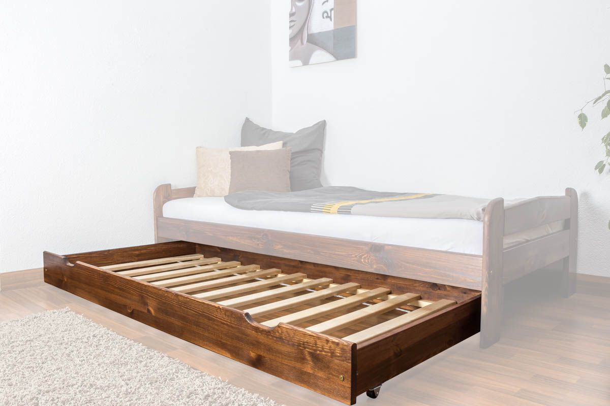Rollbett / Zweite Liegefläche für Bett - Kiefer Vollholz massiv nussfarben 003- Abmessung 18,50 x 198 x 95 cm (H x B x T)