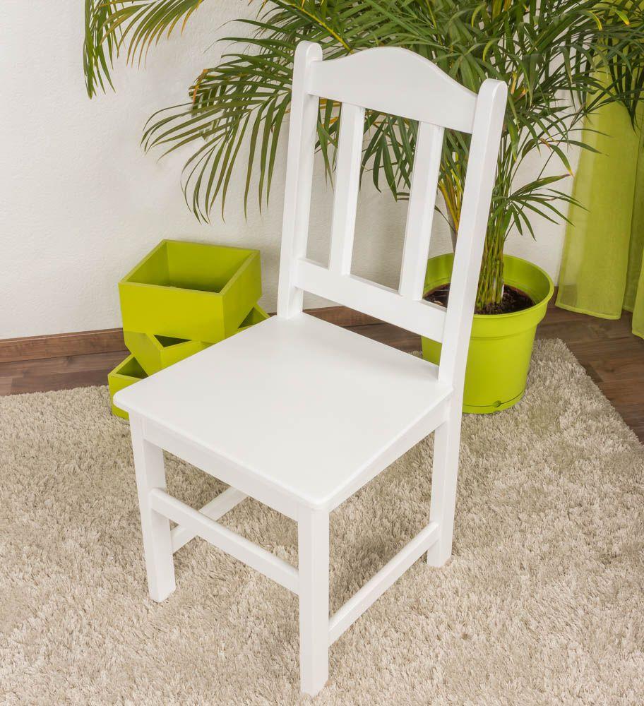 Stuhl Kiefer massiv Vollholz weiß lackiert Junco 247- Abmessung 95 x 44 x 46 cm
