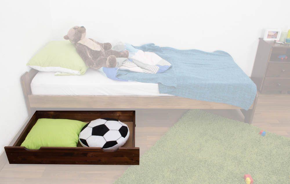 Schublade für Bett - Kiefer Vollholz massiv Nussfarben 001 - Abmessung 18,50 x 97,50 x 57 cm (H x B x T)