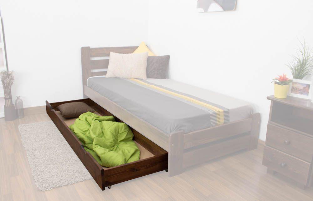 Schublade für Bett - Kiefer Vollholz massiv Nussfarben 003- Abmessung 18,50 x 198 x 54 cm (H x B x T)