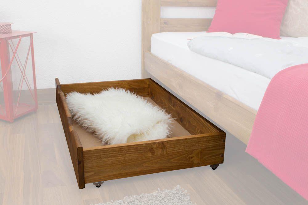 Schublade für Bett - Kiefer Vollholz massiv Eichefarben 001 - Abmessung 18,50 x 97,50 x 57 cm (H x B x T)