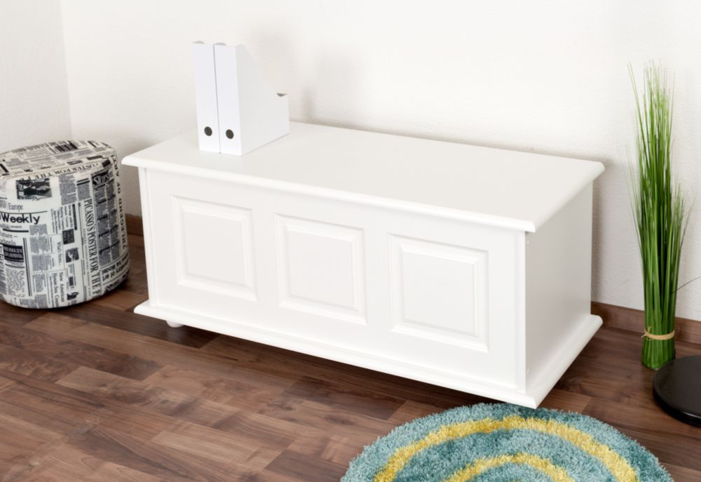 Truhe Kiefer massiv Vollholz weiß 180 – 50 x 120 x 48 cm (H x B x T)