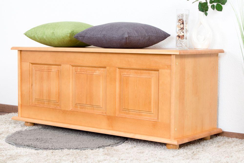 Truhe Holztruhe Kiefer massiv Vollholz Erlefarben 180 – 50 x 120 x 48 cm (H x B x T), Sitztruhe
