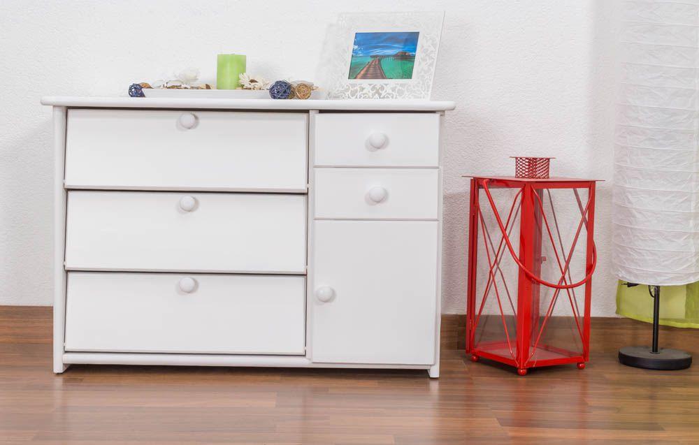 Schuhschrank 009 Kiefer massiv Vollholz weiß lackiert - Abmessung 62 x 90 x 40 cm (H x B x T)