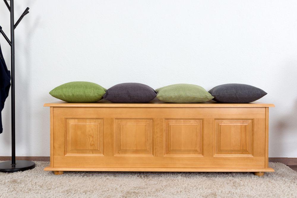 Sitzbank mit Stauraum Kiefer massiv Vollholz Erlefarben 179 – Abmessungen: 50 x 154 x 46 cm (H x B x T)
