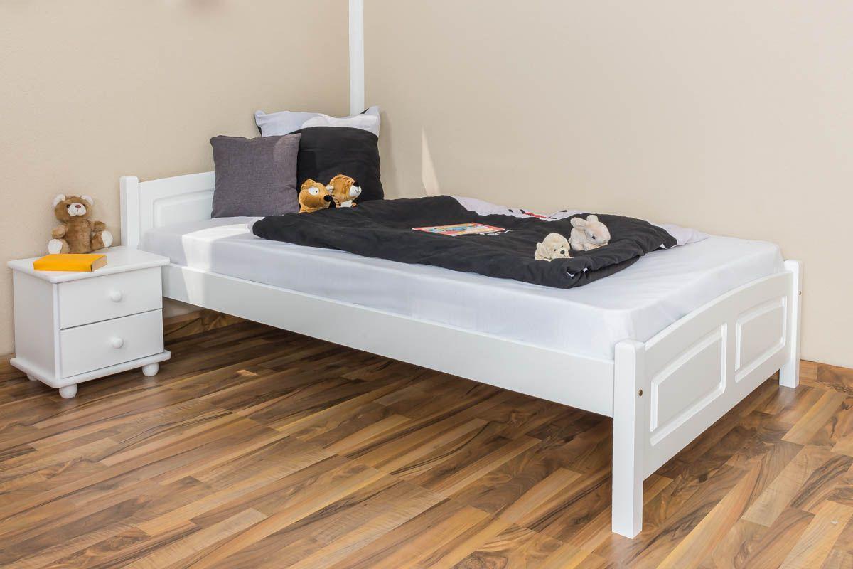 Kinderbett / Jugendbett Buche massiv Vollholz weiß lackiert 117, inkl. Lattenrost - Abmessung 120 x 200 cm
