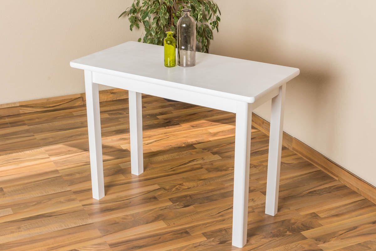 Tisch Kiefer massiv Vollholz weiß lackiert Junco 226C (eckig) -100 x 50 cm (H x B)