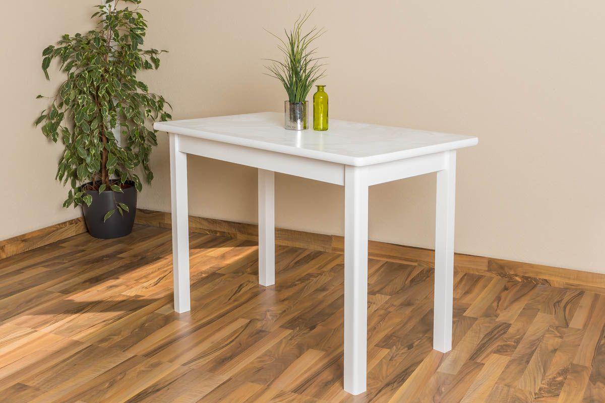 Tisch Kiefer massiv Vollholz weiß lackiert Junco 227C (eckig) 110 x 60 cm (B x T)