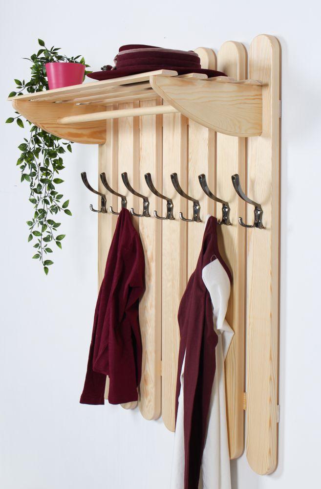 Garderobe Kiefer massiv Vollholz natur Junco 346 – Abmessung: 100 x 80 x 33 cm (H x B x T)