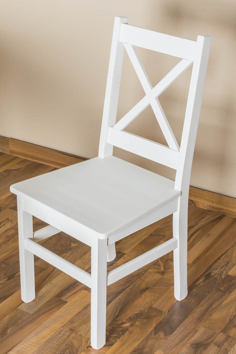 Stuhl Kiefer massiv Vollholz weiß lackiert Junco 246- Abmessung 95 x 44 x 49 cm