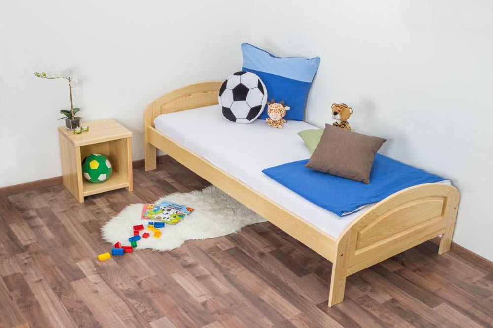 Kinderbett / Jugendbett Kiefer massiv Vollholz natur 88, inkl. Lattenrost - Liegefläche 90 x 200 cm