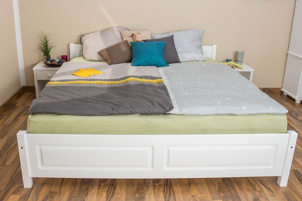 Doppelbett / Gästebett Kiefer massiv Vollholz weiß 77, inkl. Lattenrost - 180 x 200 cm (B x L)