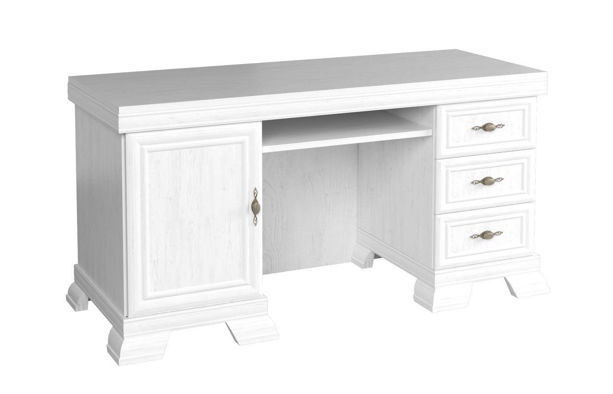 Schreibtisch Sentis 06, Farbe: Kiefer Weiß - 75 x 149 x 61 cm (H x B x T)
