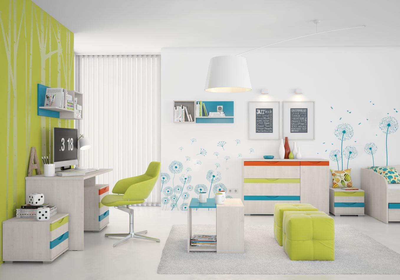 Kinderzimmer Komplett - Set B Peter, 9-teilig, Farbe: Kiefer Weiß / Orange / Gelb / Türkis