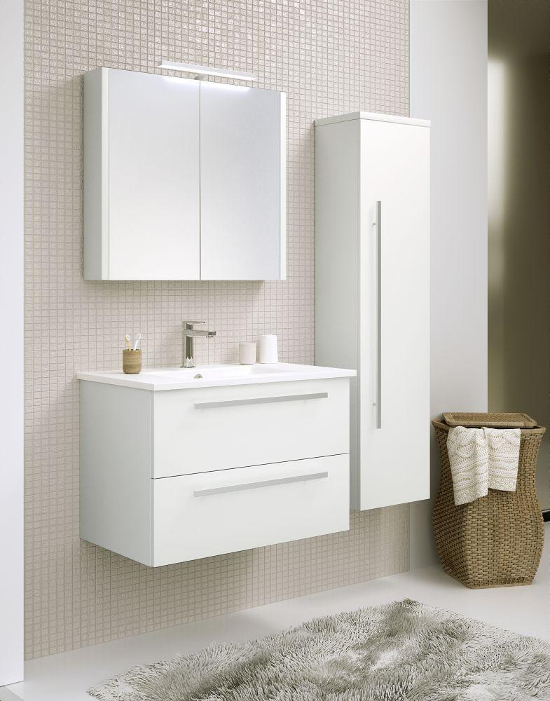 Badmöbel - Set M Bidar, 3-teilig inkl. Waschtisch / Waschbecken, Farbe: Weiß glänzend