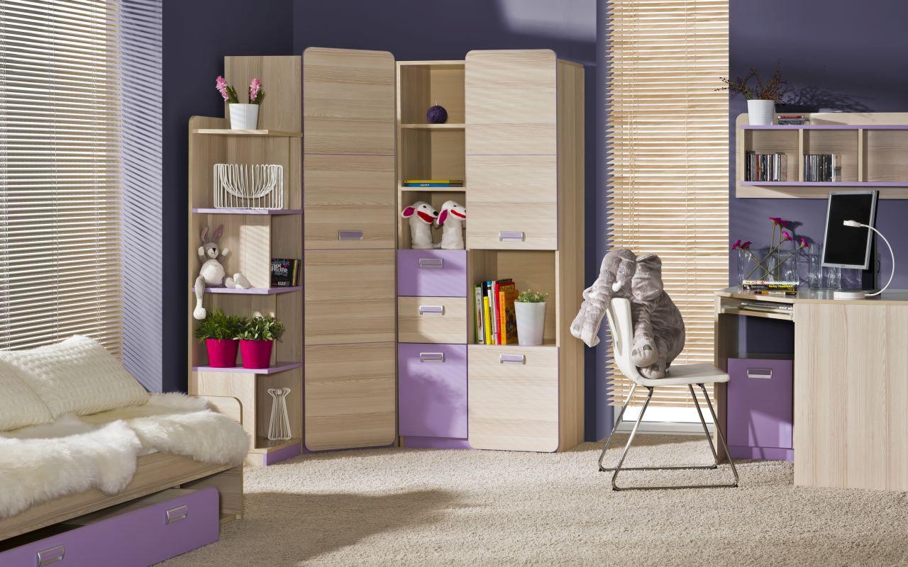 Jugendzimmer Komplett - Set C Dennis, 6-teilig, Farbe: Esche Lila