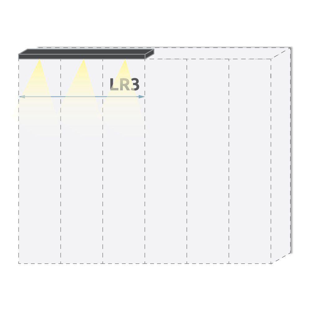 Oberer LED-Rahmen für Drehtürenschrank / Kleiderschrank Afega und Anbaumodule, Farbe: Weiß Hochglanz - Breite: 152 cm