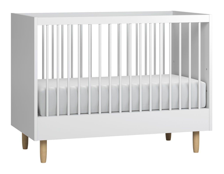 Babybett / Gitterbett Maciel 07, Farbe: Eiche / Weiß - Liegefläche: 60 x 120 cm (B x L)