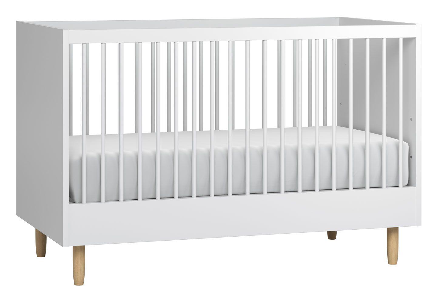 Babybett / Gitterbett Maciel 08, Farbe: Eiche / Weiß - Liegefläche: 70 x 140 cm (B x L)