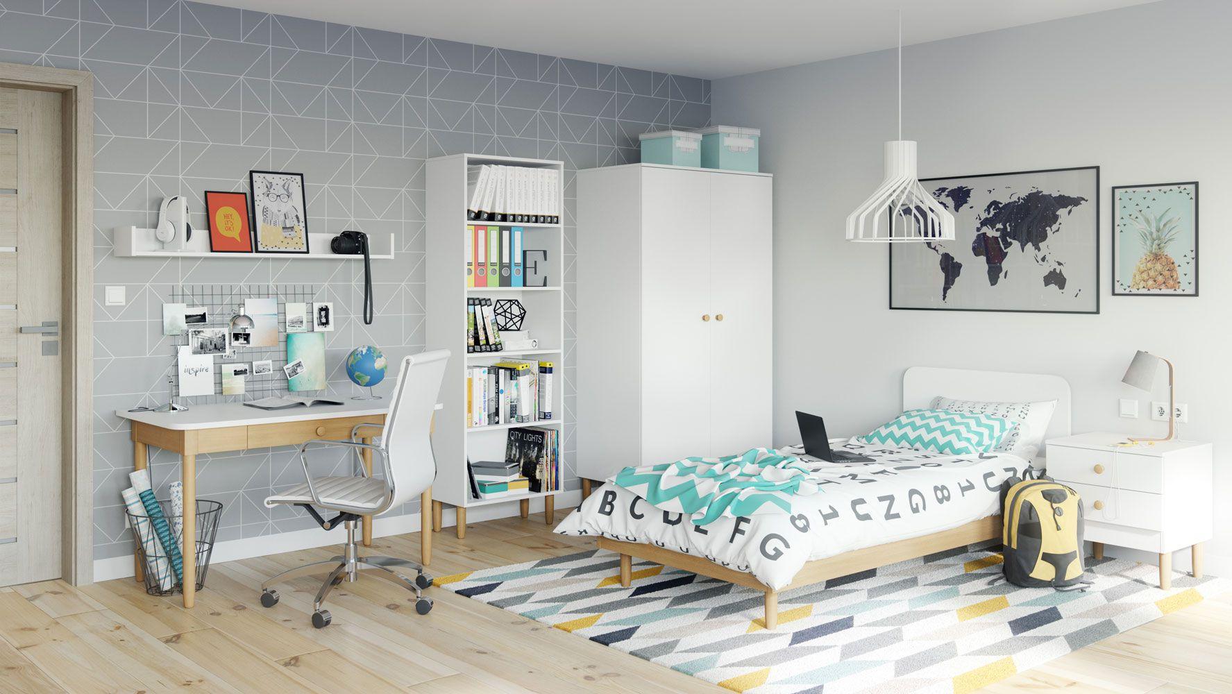 """Jugendzimmer Komplett - Set """"Maciel"""", 6-teilig, Farbe: Eiche / Weiß"""