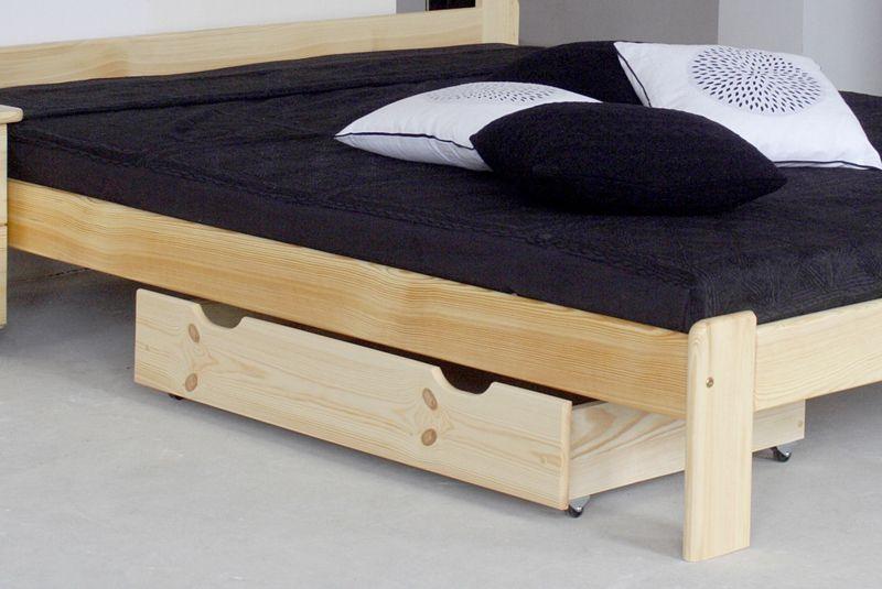 Schublade für Bett - Kiefer Vollholz massiv natur 001 - Abmessung 18,50 x 97,50 x 57 cm (H x B x T)