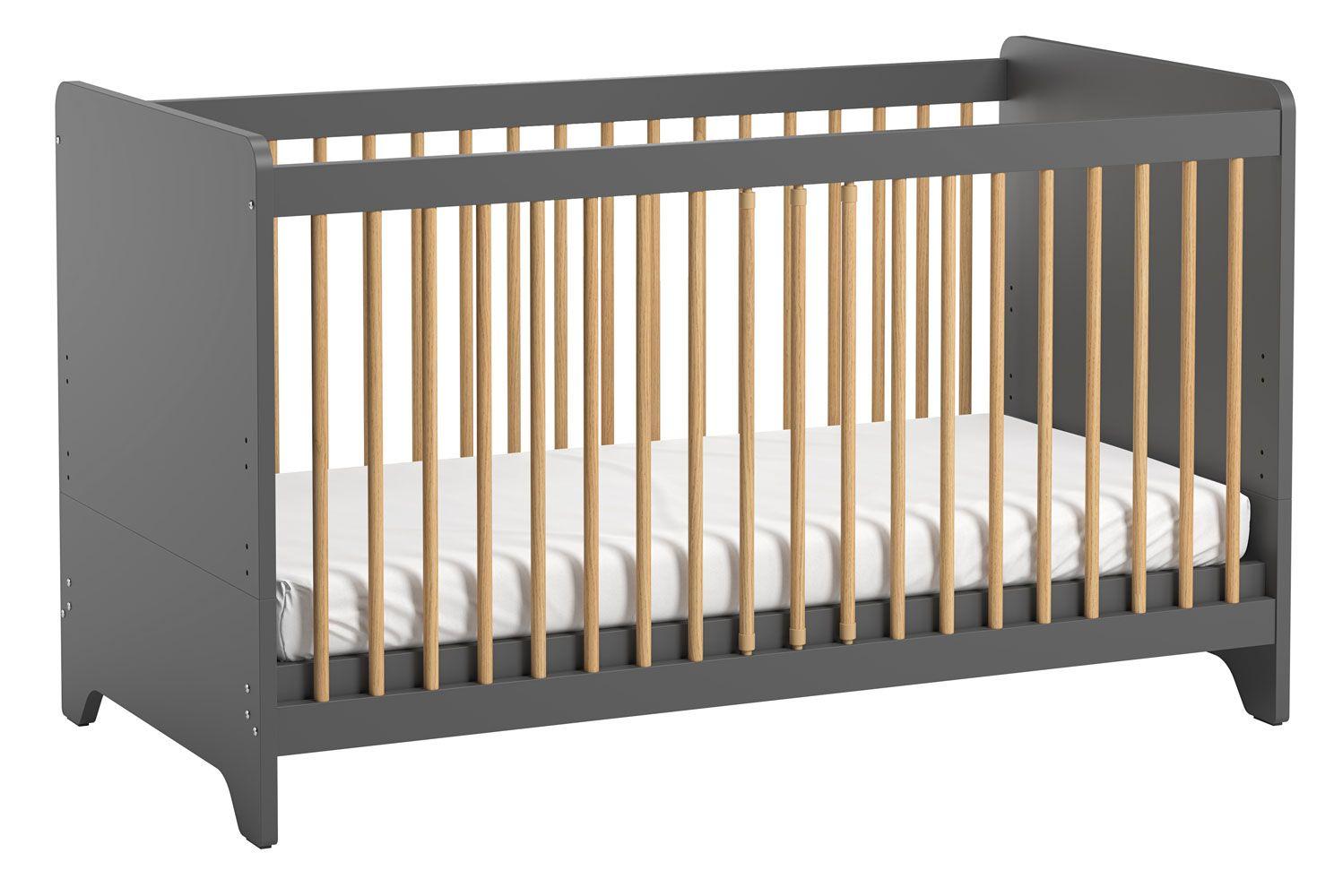 Babybett / Gitterbett Majvi 04, Farbe: Grau / Eiche - Liegefläche: 70 x 140 cm (B x L)