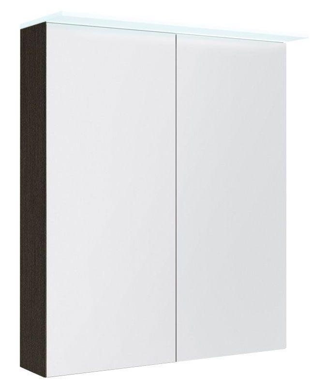 Badezimmer - Spiegelschrank Siliguri 02, Farbe: Eiche Schwarz – 70 x 60 x 13 cm (H x B x T)