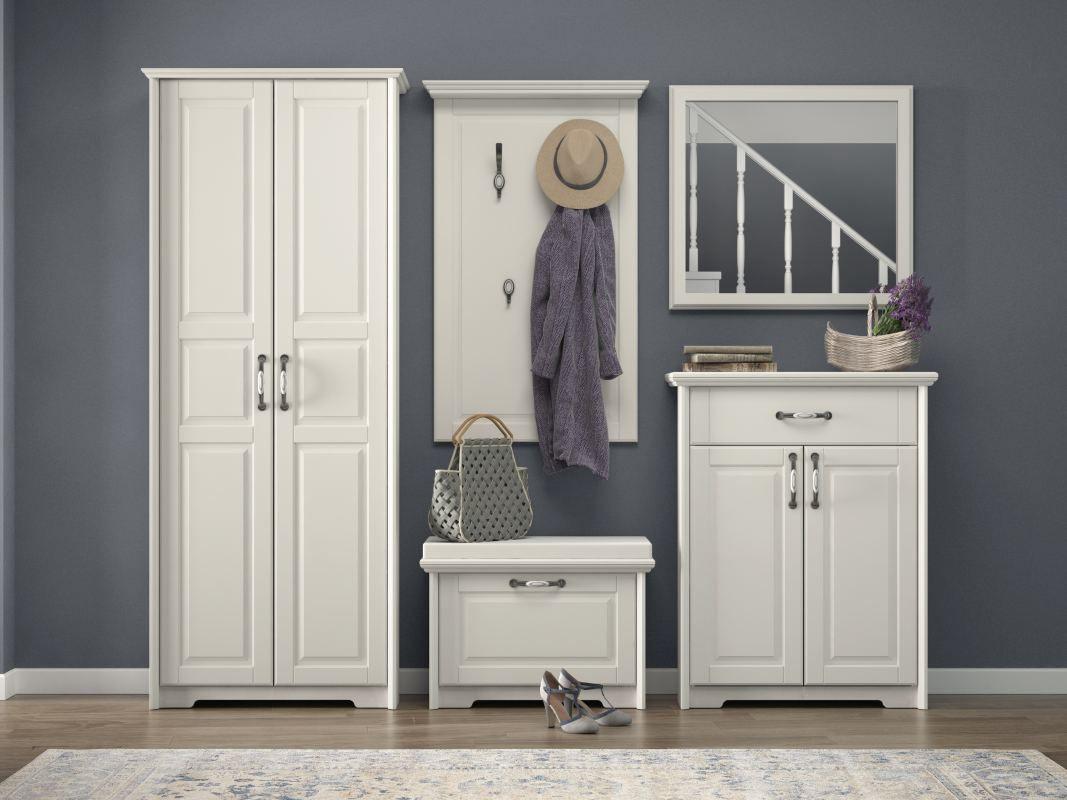 Garderobe Komplett - Set E Falefa, 5-teilig, Farbe: Weiß