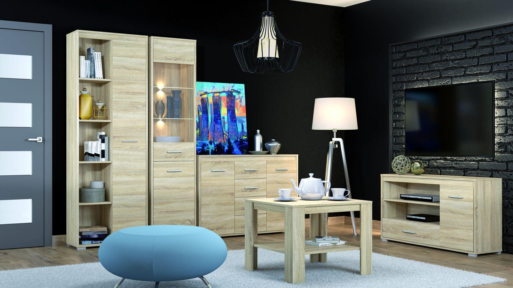 Wohnzimmer Komplett - Set B Mochis, 5-teilig, Farbe: Sonoma Eiche hell inklusive 3 Farbeinsätzen