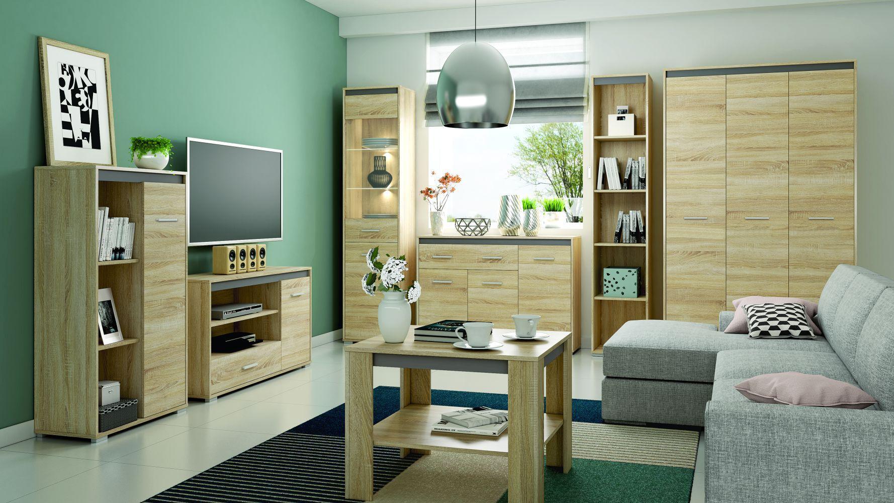 Wohnzimmer Komplett - Set C Mochis, 7-teilig, Farbe: Sonoma Eiche hell inklusive 3 Farbeinsätzen