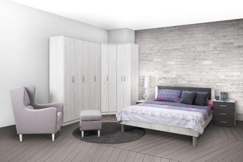 Schlafzimmer Komplett - Set M Muros, 6-teilig, Farbe: Eiche Weiß / Anthrazit