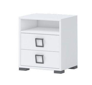 Nachtkästchen 07, Farbe: Weiß - Abmessungen: 50 x 44 x 37 cm (H x B x T)